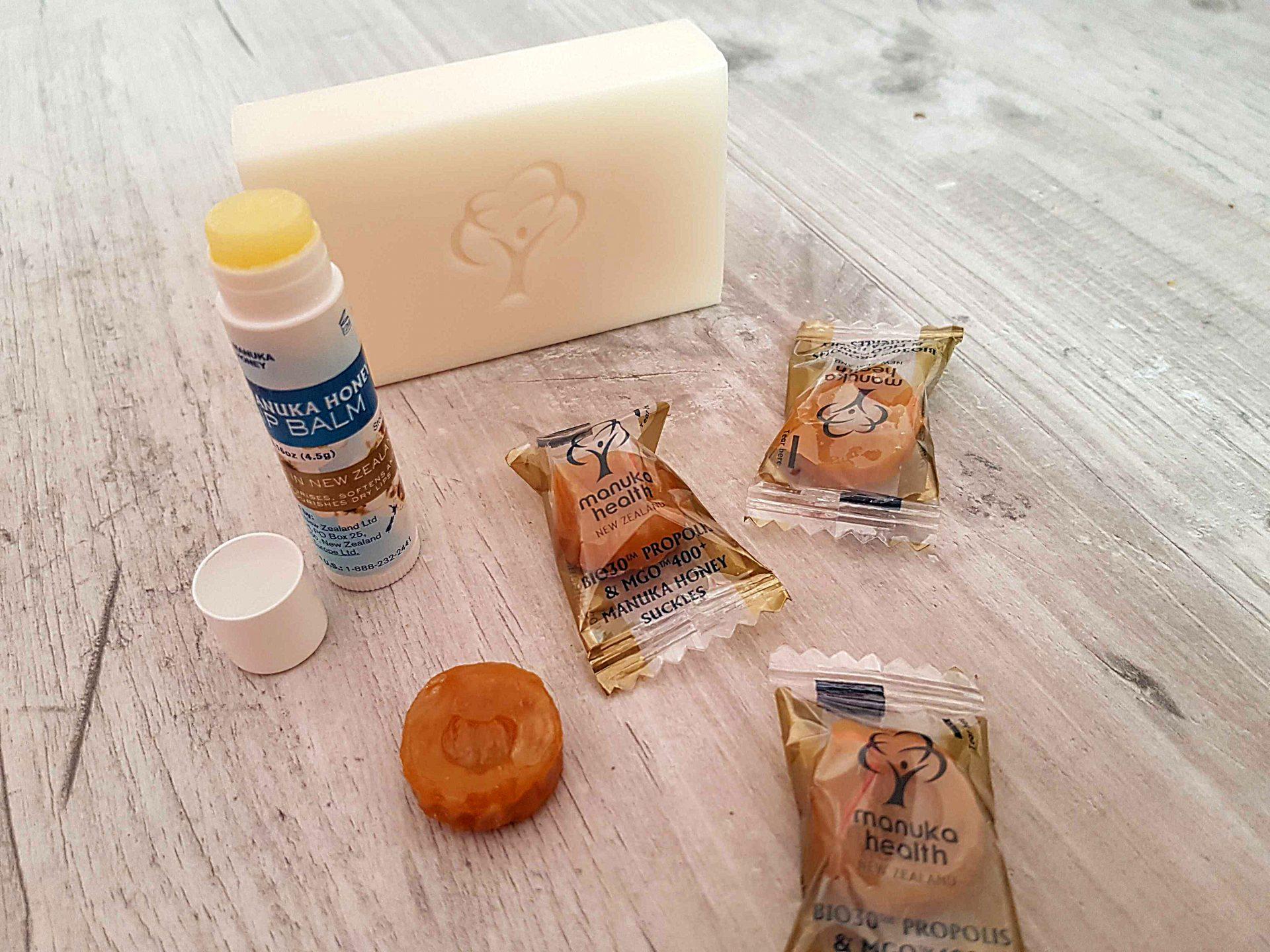 Produkty z miodem Manuka – pomadka, mydło i cukierki