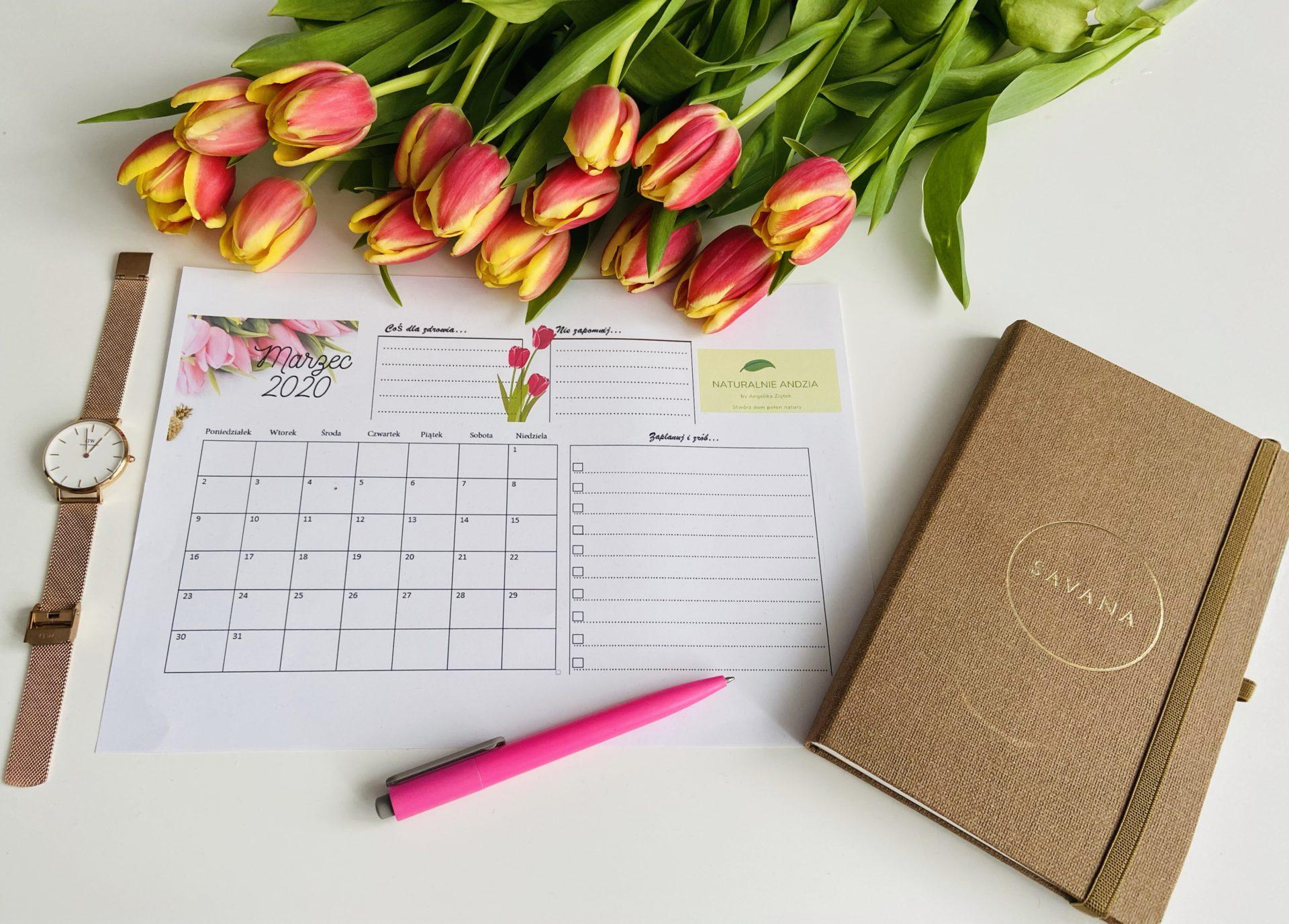 Kalendarz na marzec do pobrania