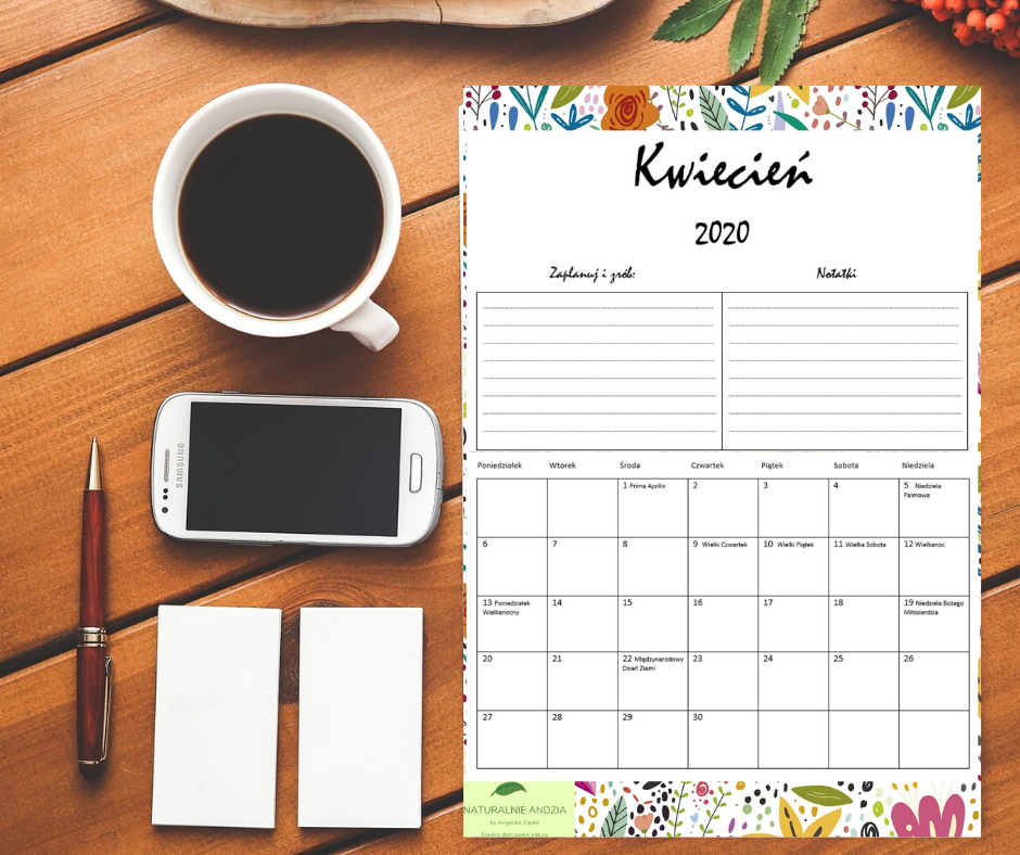 Kalendarz/planer kwiecień 2020